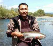 Nice Rainbow trout caught by Kogi Hosogi fly fishing in the Tauranga-Taupo river